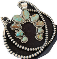 Navajo Pearls Naja Pendant Multistone Turquoise#8  Sterling Silver Necklace 965