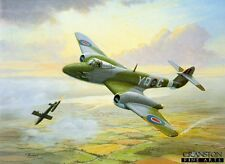 WW2 Aviation Art Christmas Greeting Card Gloster Meteor Jet aircraft  616sqd RAF