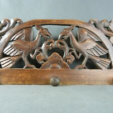 Antique French Pediment Fronton or Coat Rack Wood Carved Birds