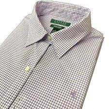 Ralph Lauren camisa para mujer manga larga no hierro comprobado púrpura RLL L