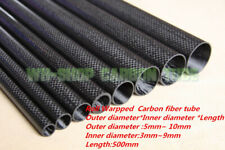 Glossy OD5mm 6 7 8 9 10mm 3K Carbon Fiber Tube/Pipe  Roll Wrapped Long 500mm