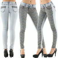 Women's Jeans Top Clubbing Ladies Skinny Trouser Lace Blue Pant Size 8 10 12 14