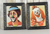 Vintage Chuck Oberstein Clown Prints With Original Frames Very Rare 10x8