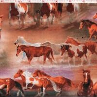 HORSES RUNNING the RIVERS Cotton Print by David Textiles BTY