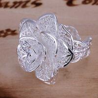 Damen Frauen Versilbert Blume Ring hohlen Schmucksache Geschenk