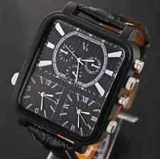 HOT big black face Army Military Steampunk Men Wrist Watch 3 time Analog Leather