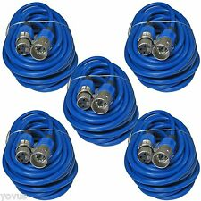 5 PACK BLUE 25 ft foot feet 3PIN XLR MALE TO FEMALE MIC MICROPHONE CABLES CORDS