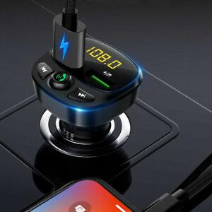 Bluetooth Wireless 5.0 FM Transmitter QC3.0 Car USB Charger Adapter Radio Player