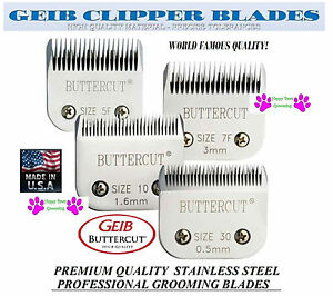 GEIB BUTTERCUT STAINLESS STEEL 10,30,7F,5F BLADE SET*Fit MANYOster,Andis Clipper