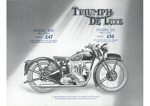 1939 Triumph De Luxe 2H 250cc motorcycle poster