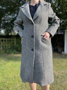 Brora British Tailoring Hand Woven Harris Tweed Wool Coat Size 14