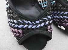 """spot on"" ladies black/multi evening shoes sz 3"