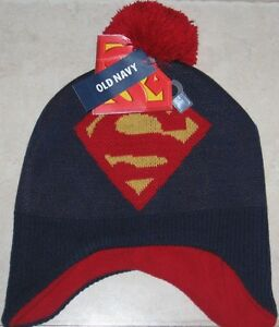 NWT Old Navy SUPERMAN Knit Boys 2T - 3T Toddler BEANIE STOCKING CAP Hat OLD NAVY