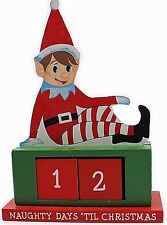 Wooden Elf Countdown Advent Christmas Naughty Nice Elf on a Shelf Prop Xmas Kids