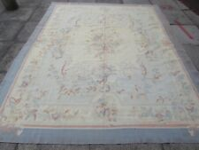 Old Hand Made French Design Wool Grey Blue Large Original Aubusson 285X230cm