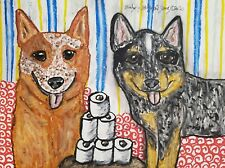 Australian Cattle Dog Heeler Aceo Print Dog Art Card 2.5 X 3.5 Ksams Collectible
