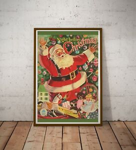 """1949 Night Before Christmas Book POSTER! (up to 24"""" x 36"""") - Santa Claus - Tree"""