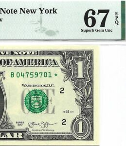 2013 $1 NEW YORK * STAR * ⭐️ FRN, PMG SUPERB GEM UNCIRCULATED 67 EPQ BANKNOTE