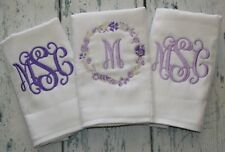 3 Personalized Girls Burp Cloth  Monogram Burp Cloths - Flowers Purple Lavender