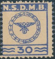 Stamp Germany Revenue WWII Nazi Era NSDMB Marine Dues 30 Blue MNG