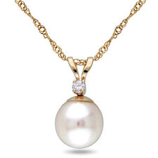 Amour 14k Cultured Pearl Diamond Pendant (7-7.5 mm)