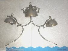 Antique Vg Cond Triple Sleigh Bell Assembly brack Middle Bell has Outer Strikers