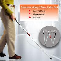 4FT VISUALLY IMPAIRED FOLDING BLIND CANE WALKING STICK WRIST STRAP REFLECTOR US