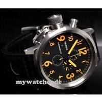 50mm PARNIS orange mark Big Face date full Chronograph Lefty Crown mens Watch 36