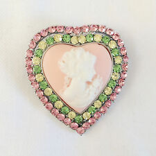 Cameo Love Brooch Pendant Charm Br1363A New Victoria Concept Pink Heart Crystal