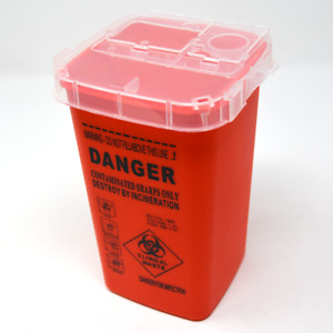 Barber Salon Used Disposable Sharp Razor Blade Container Trash Can (RED)