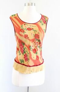 Vtg Citron Santa Monica Abstract Floral Print Tank Top Blouse Size S XS Red