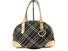 Authentic BURBERRY LONDON BLUE LABEL Canvas, Leather Dark Brown Hand Bag BB4839L