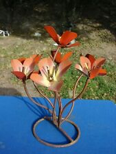 "Vtg Metal Flowers Sculpture Yard Art Garden Statue Outside Decor 11"" Tall"