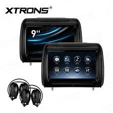 """2x 9"""" Car Monitor Pillow Headrest DVD Player Adjustable Touch Screen 2 Headphone"""