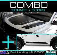 fits 2015-2018 MITSUBISHI Triton COMBO Bonnet + Doors STRIPES decals stickers MQ