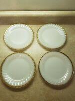 """Fire King Swirl Milk Glass w/ Gold Trim 7"""" Salad dessert Plate Dish Set of 4"""