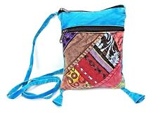 Blue Patchwork Purse Cotton Passport Small Crossbody Bag Multi Color Hippie Boho