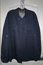 Eddie Bauer Men's 3XL Shirt Blue Larrabee Travex Linen Long Sleeve Back Vent
