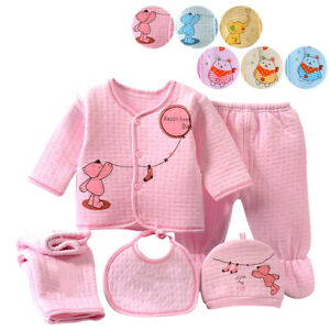 Cute Newborn Caring Baby Boy Girl Infant Cotton Outfit Clothing 5pcs Layette Set