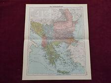 Landkarte Balkanhalbinsel, Serbien, Rumänien, Bulgarien, Türkei, Otto Herkt 1905