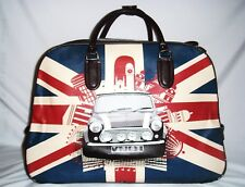 MINI CAR UNION JACK WHEELED HOLDALL TROLLEY CABIN WEEKEND BAG HAND LUGGAGE