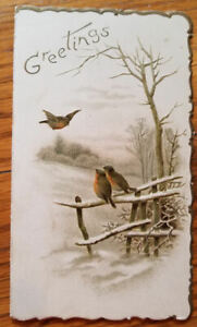 Small Old Folded Greeting Card With Robins & Snowy Fence on Cover-Poem Inside