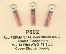 100 Red PERMA SEAL Heat Shrink RING Terminal Connectors #22-18 Wire Gauge #8 Std