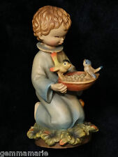Anri Italian woodcarving Figurine statue of Girl Sharing birds by Juan Ferrandiz