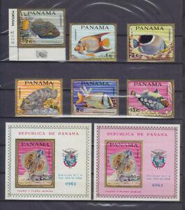 PANAMA 1968, FISHES, Mi 1070-1075, BLOCKS 91 A & B, MOSTLY MNH