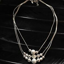 """Bead Detail Bib Necklace 19"""" Long Lovely Estate Sterling Silver 3 Strand Texture"""