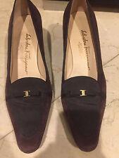 USED SALVATORE FERRAGAMO SUEDE BROWN  shoe size 8!!! LESCLAR
