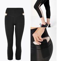 Womens M&S Leggings Running Tight Ladies Yoga Pants Active Sport Crop Pocket Sz