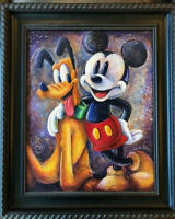 Original Disney Art Darren Wilson - Mickey & Pluto - Acrylic on Board