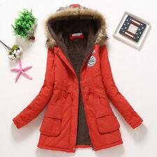 Women's Winter Warm Hooded Coat Long Slim Faux Fur Parka Jacket Overcoat Outwear